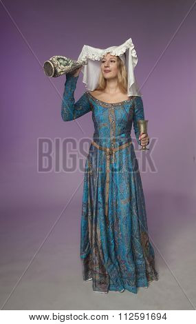 Medieval Girl Checking A Jar