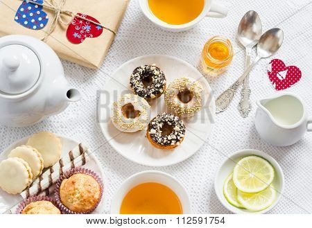 Valentine's Day Romantic Breakfast. Lemon Green Tea And Sweets - Banana Muffins, Cookies With Carame