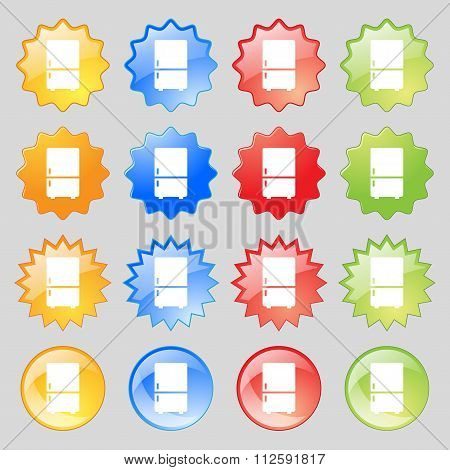 Refrigerator Icon Sign. Big Set Of 16 Colorful Modern Buttons For Your Design.