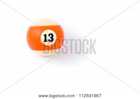 Billiard Ball Thirteen Isolated On A White Background