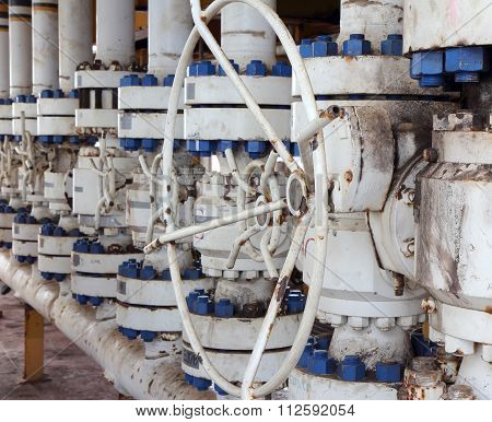 Valves Manual In The Process. Production Process Used Manual Valve To Control The System