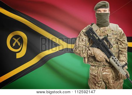 Soldier Holding Machine Gun With Flag On Background Series - Vanuatu
