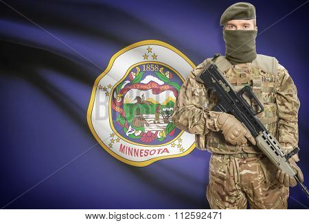 Soldier Holding Machine Gun With Usa State Flag On Background Series - Minnesota