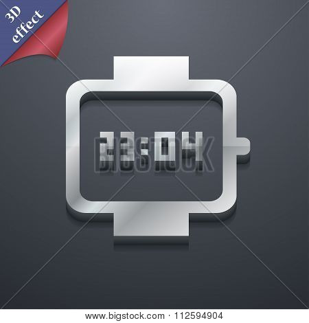 Wristwatch Icon Symbol. 3D Style. Trendy, Modern Design With Space For Your Text