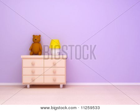 nightstand with lamp and teddy bear