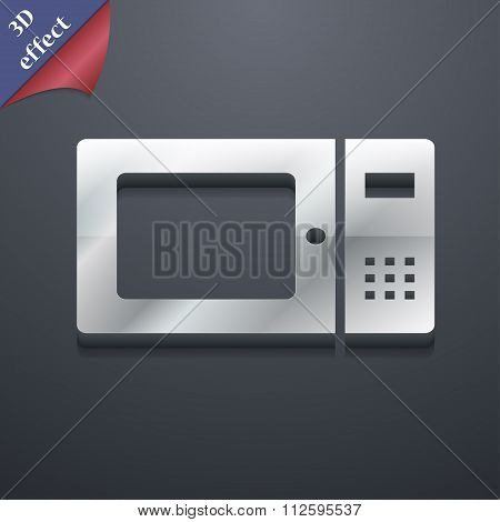 Microwave Icon Symbol. 3D Style. Trendy, Modern Design With Space For Your Text