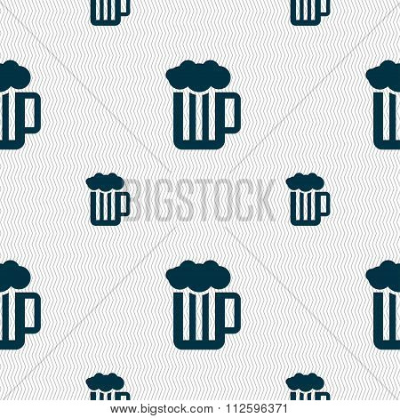 Glass Of Beer With Foam Icon Sign. Seamless Pattern With Geometric Texture.