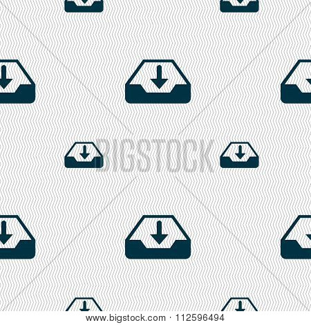 Restore Icon Sign. Seamless Pattern With Geometric