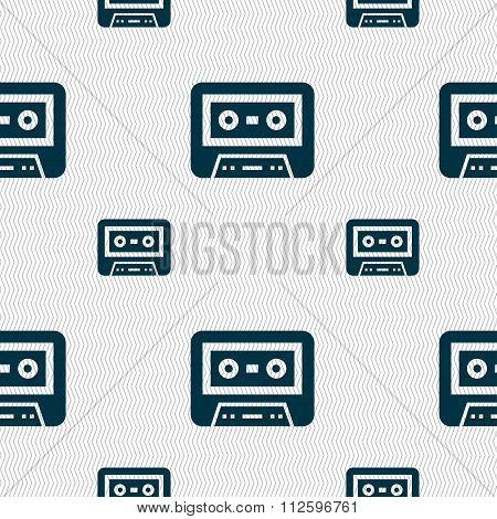 Audiocassette Icon Sign. Seamless Pattern With Geometric