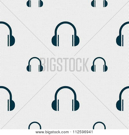 Headphones Icon Sign. Seamless Pattern With Geometric