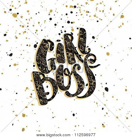 Girl Boss Modern Business Concept Of Independent Women. Watercolor Hand Lettering Motivation Poster