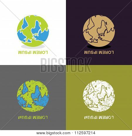 Inverted Earth - Logo For Travel Company. Planet Inverted Upside Down. Abstract Emblem For Unusual B
