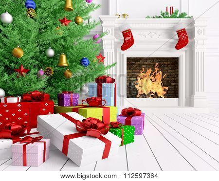 Christmas Tree, Gifts, Fireplace In A Room 3D Rendering
