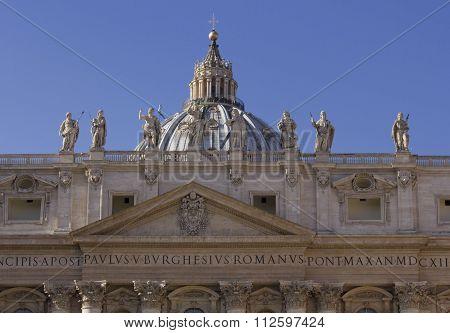 Roof Of Saint Peter Basilica In Vatican