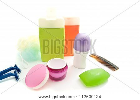 Blue Razors, Gel And Other Toiletry