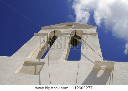 Traditional church in Greece with a bell