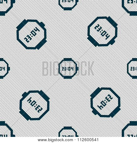 Wristwatch Icon Sign. Seamless Pattern With Geometric Texture.
