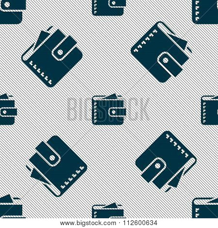 Purse  Icon Sign. Seamless Pattern With Geometric Texture.