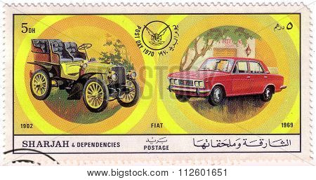 Sharjah - Circa 1971: A Postage Stamp Printed In Sharjah Showing An Image Of Fiat, Post Day 1970: Eu