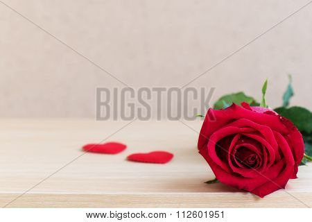 Red Rose And Two Heart With Copy Space