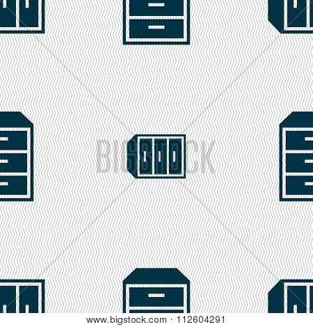 Nightstand Icon Sign. Seamless Pattern With Geometric