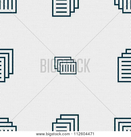 Copy File, Duplicate Document Icon Sign. Seamless Pattern With Geometric