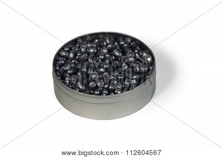 Round Metallic Box With Pneumatic Bullets