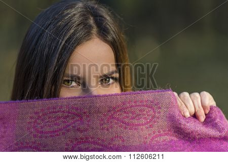 Eyes Above The Purple Scarf.