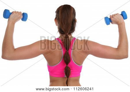 Fitness Workout Woman Exercise Back Shoulder Sports With Dumbbells Isolated