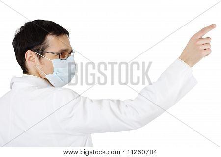 ?octor In Medical Mask Points A Finger