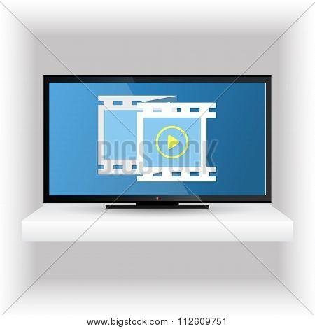 Television set on the shelf