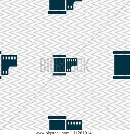 35 Mm Negative Films Icon Sign. Seamless Pattern With Geometric Texture.