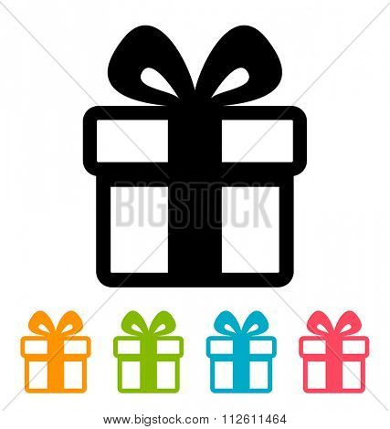 Gift box icon isolated on white