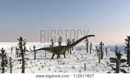 mamenchisaurus walking on snow