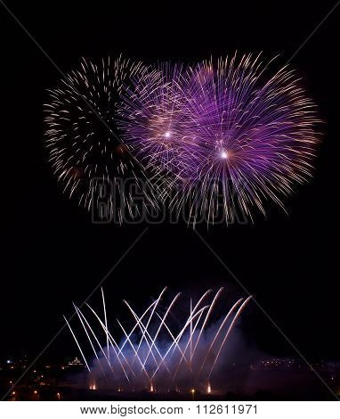 Big colorful fireworks explode in Malta in dark sky,Malta fireworks festival, 4 July, Independence,