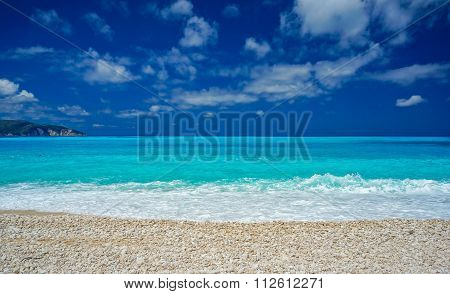 Amazing blue water in Myrtos beach, Kefalonia
