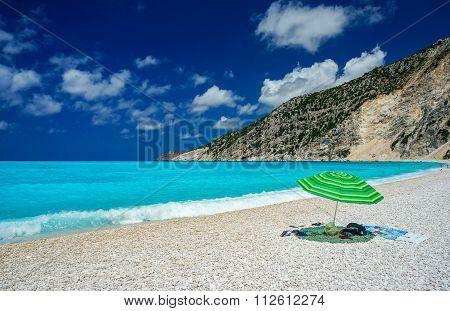 Umbrella on a beach in Kefalonia