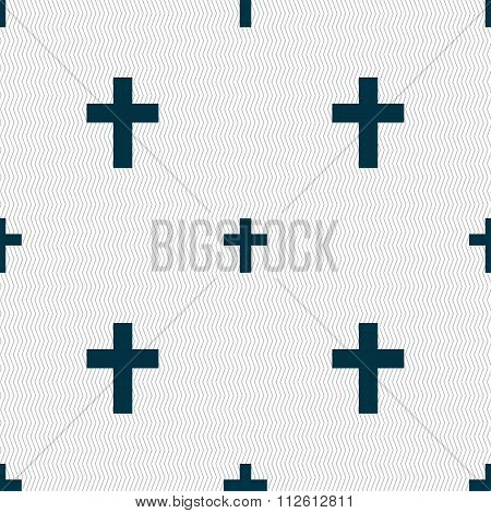 Religious Cross, Christian Icon Sign. Seamless Pattern With Geometric Texture.