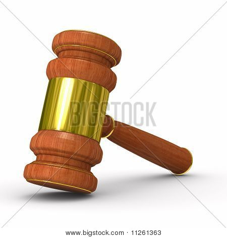 Auction Gavel On White. Isolated 3D Image