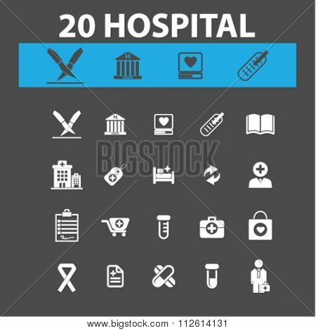 hospital, medicine  icons, signs vector concept set for infographics, mobile, website, application
