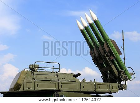 MOSCOW REGION  -   AUGUST 27: Starting platform with four guide anti-aircraft medium range missiles   -  on August 27, 2015 in Moscow region