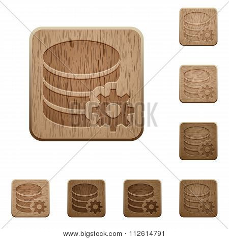 Database Configuration Wooden Buttons