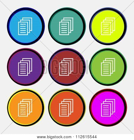 Copy File, Duplicate Document Icon Sign. Nine Multi Colored Round Buttons.