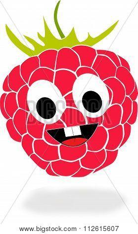 Cartoon raspberry with grin