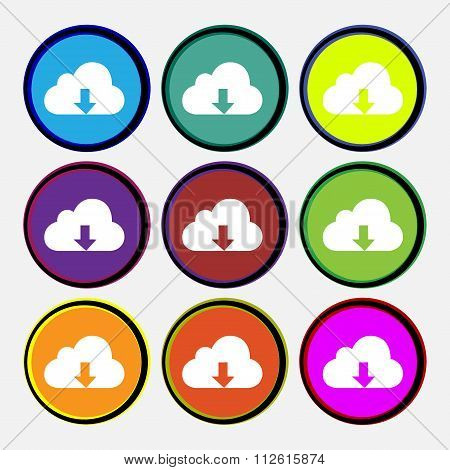 Backup Icon Sign. Nine Multi Colored Round Buttons.