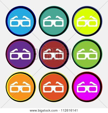 3D Glasses Icon Sign. Nine Multi Colored Round Buttons.