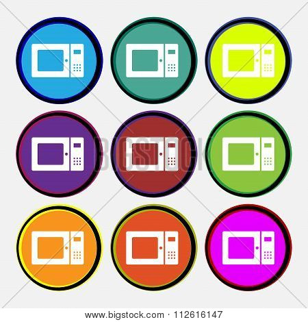 Microwave Icon Sign. Nine Multi Colored Round Buttons.
