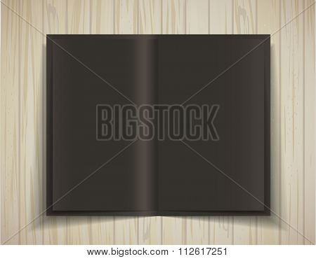 Black Vector blank. Open brochure on a wooden texture. Template for design