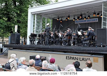 Brass Orchestra Of The Finnish Army Perform Before The Audience On The Boulevard In Helsinki