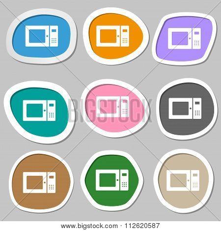 Microwave Symbols. Multicolored Paper Stickers.